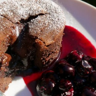 HOT CHOCOLATE FONDANT WITH BLACKCURRANT COULIS