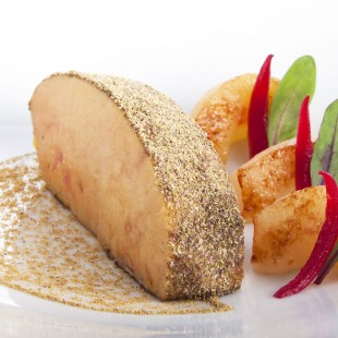 FOIE GRAS OF ROAST DUCK, CARAMELIZED ST-MARTIN-PEAR, CONSOMME FLAVORED WITH BLACKCURRANT PEPPER