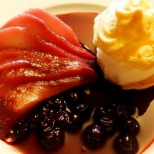 PROFITEROLES WITH PEAR SORBET AND CARAMELIZED PEAR WITH WINE AND BLACKCURRANT SAUCE
