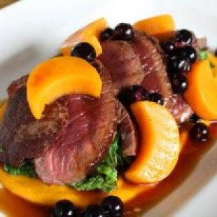 SEARED VENISON WITH BUTTERNUT SQUASH PUREE, SAVOY CABBAGE AND BLACKCURRANT
