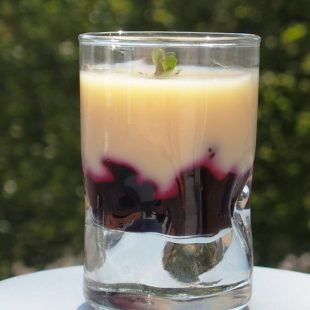 PANNA COTTA WITH WHITE CHOCOLATE, BLACKCURRANT COMPOTE