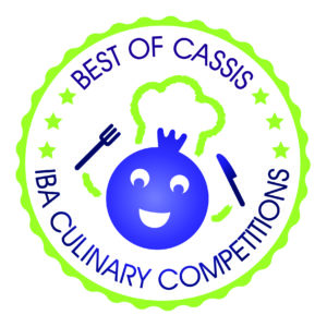 "round logo in green and violet, showing a blackcurrant with fork and knife in hands and a chef's hat. The name is ""best of cassis"" - ""IBA culinary competitions"""
